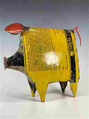 Steampunk or Recycled Oil Tin Can Litho Metal Art Pig