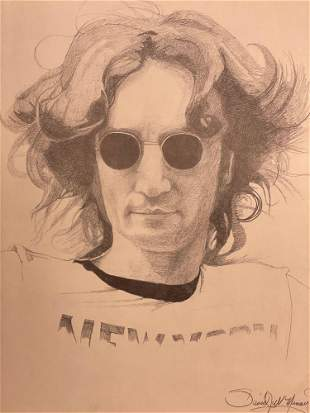 Pencil Drawing of Iconic John Lennon Artist Signed