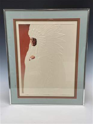 Signed Number CHIEF EAGLEWING Lithograph by M Woodward