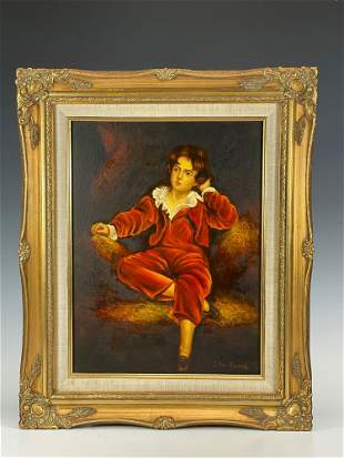 Oil on Canvas Painting of Seated Young Male by LEO