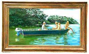 Tarpon Bay Cruise Contemporary Oil on Board by Gerald