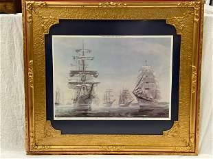 20th century Nautical Ship Print in Antique Frame