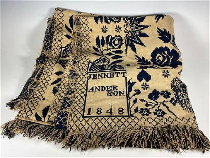 1848 Dated Blue and White Coverlet