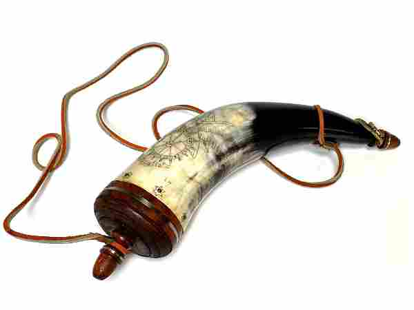 Bicentennial OHIO Region Inscribed Powder Horn Flask