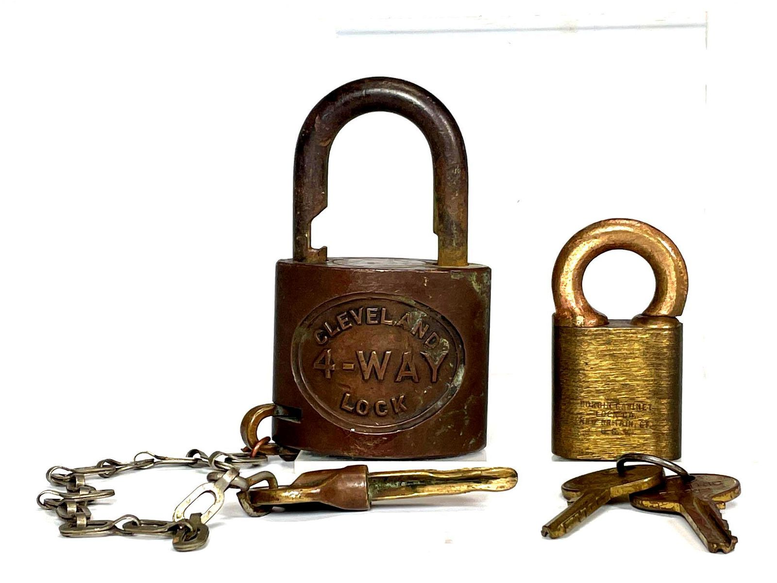 Two Antique Locks CLEVELAND 4-way Lock w Key