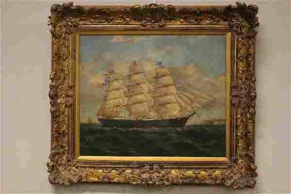 Clipper Ship Nautical Scene Oil on Canvas