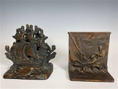 Two Sets of Antique Nautical Bronze Book Ends