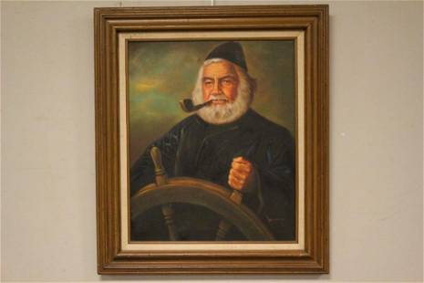 20th C. American Fisherman at Helm Oil Painting