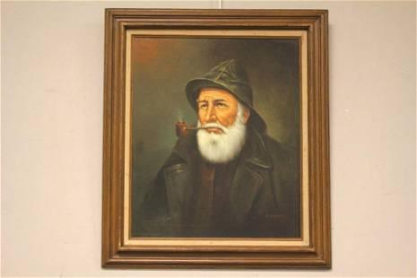 20th C. Old Fisherman Oil Pianting Portrait
