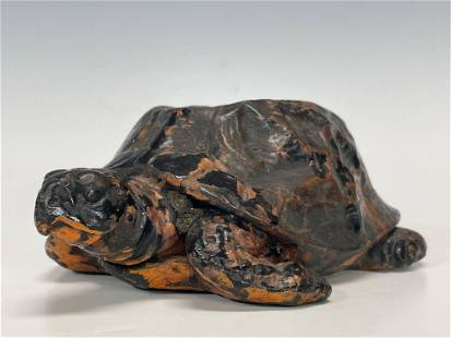 Antique Weighted Copper Folk Art Painted Sea Turtle