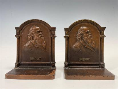 Bradley & Hubbard Cast Iron Bryant Bookends Marked