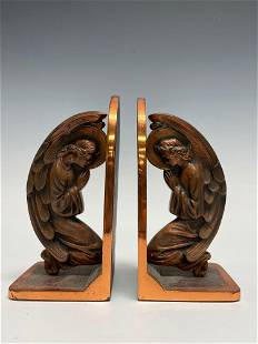 Pair of Polished Copper Angels Praying to Cross