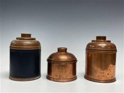 Three (3) Vintage Copper and Tin Cigar Humidors Rumidor