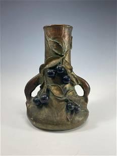 Art Nouveau Amphora Austria Pottery Vase w Black