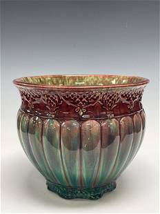 Early Majolica Melon Bodied Jardiniere Cranberry to