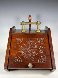 19th Century English Carved Mahogany Coal Scuttle