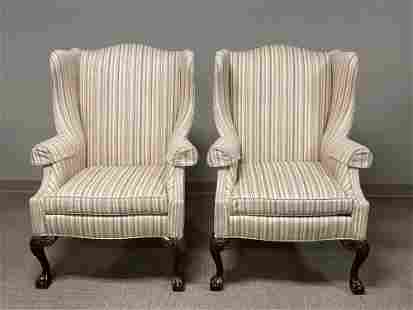 Exceptional Pair of Upholstered Wingback Fireside