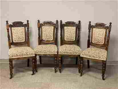 Set of Four Carved English Victorian Chairs