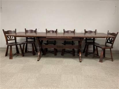 Mid-Century Romweber Viking Oak Refectory Dining Set w