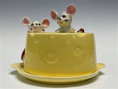 MCM Ceramic Cheese and Mice Covered Cheese Dish