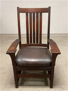 L. AND J.G. STICKLEY Arts and Crafts 5 Slat Tall Back
