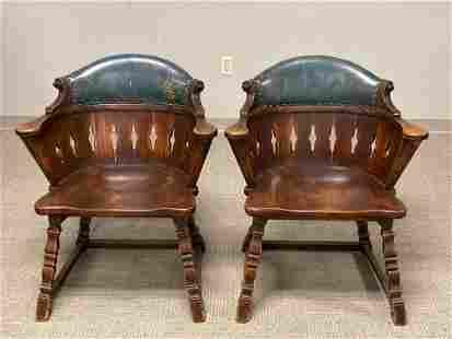 (2) ROMWEBER Oak Barrel Captains Chairs