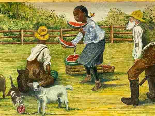 Black Americana FOLK ART Pastel Painting of Black