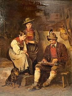 The Zither Player After Franz Von Defregger (German