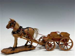 Early American Folk Art Wood Horse and Wagon Pull Toy