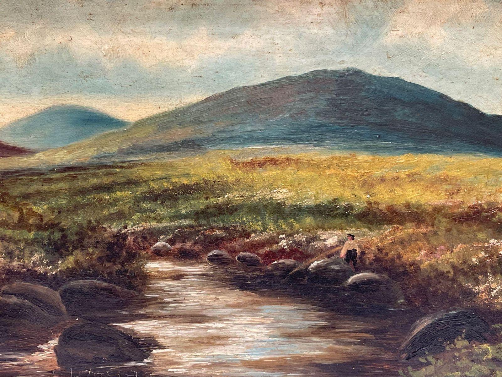 1919 European School River Landscape Oil Painting on