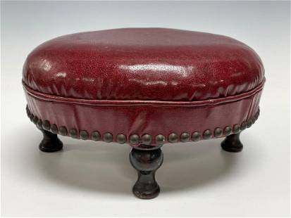 """Antique 13"""" Round Dia Red Wine Leather Foot Stool"""
