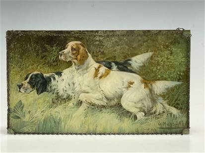 Gustav Muss-Arnolt Spaniel Hunt Dogs Litho Glass Panel