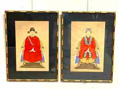 (2) Distinguished Chinese Ancestor Portrait Paintings