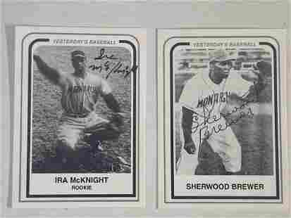 Ira McKnight and Sherwood Brewer Signed Baseball Cards