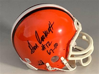 Don Cockroft Signed and Inscribed Browns Mini-Helmet