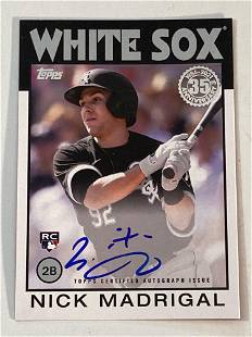 2021 Topps Nick Madrigal Autographed 1986 Rookie Card