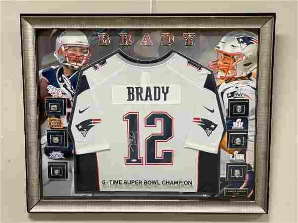 Tom Brady Signed Jersey Super Bowl Ring Framed Amazing
