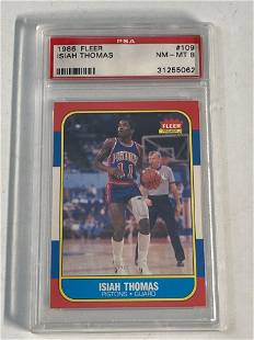 1986 Fleer Basketball #109 Isiah Thomas PSA 8