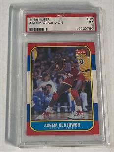 1986 Fleer Basketball #82 Akeem Olajuwon PSA 7