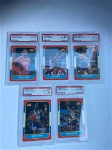 1986 Fleer Basketball Card PSA 8 Graded Lot (5) NM-MT