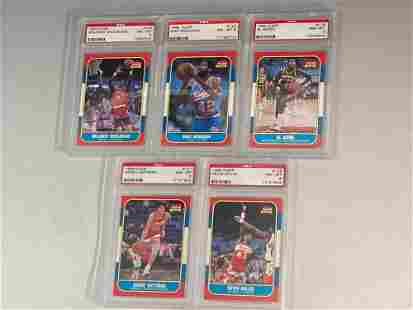 1986 Fleer Basketball PSA 8 Graded Lot (5)