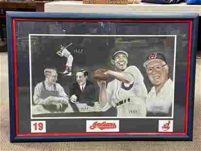 Unique Bob Feller Chalk Lithograph Cleveland Indians