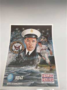 Bob Feller Autographed Heroes to Heroes Lithograph