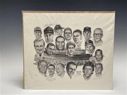 1981 Dick Dugan Cleveland Stadium LE Litograph Signed