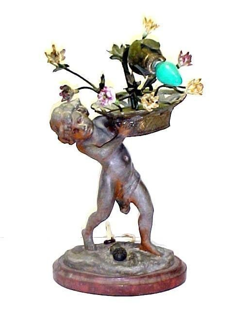 1: Figural Lamp of Young Lad
