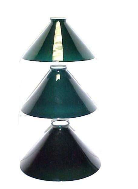6: Three Green Cased Glass Shades,