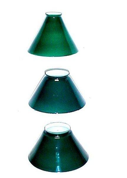 7: Three Thin Green Cased Glass Shades,