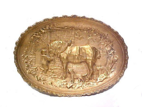 15: Late 19th. Century Bronze Relief Tray Of Child And