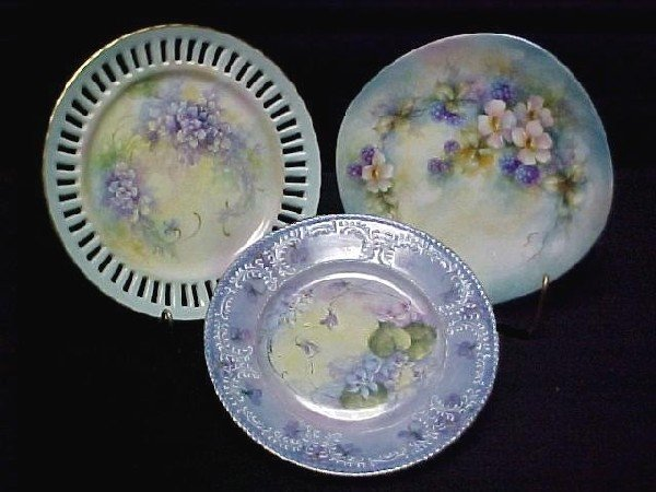 22: Group of Three Hand Painted Plate's,