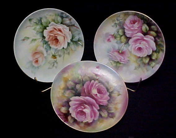 23: Group of Three Hand Painted Plate's,